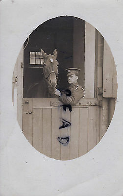 WW1 soldier British Cavalry Pte 6th Inniskilling Dragoon Guards horse in stable