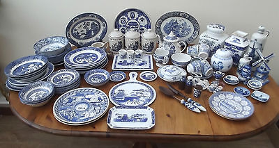 Huge job Lot of Willow Pattern/Blue & White Plates/Teapot 87 items approx