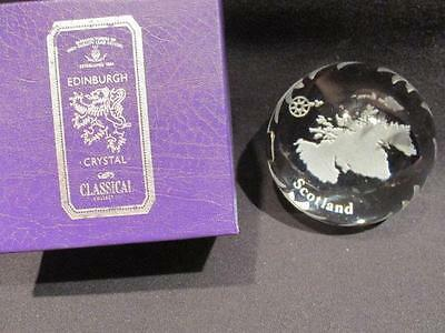 Edinburgh Crystal Classical Collection Heavy Paperweight Map of Scotland & Box