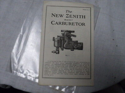 Brochure The New Zenith Model 84-T Carburetor