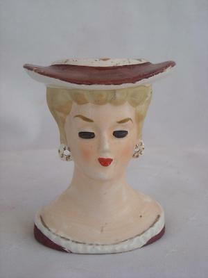 Vintage Porcelain Lady Head Vase /  Planter Circa 1960