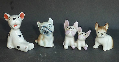 4 Assorted Small Vintage French Bulldog Ornaments Figures Pottery Dog