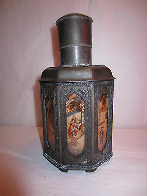 Antique Chinese Pewter Tea Caddy Jar w/ Painted Glass Scenes Chao Yan Tan Yongli