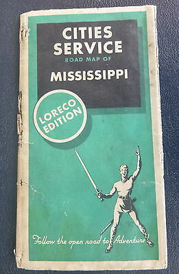 1934 Mississippi road map Cities Service oil gas Loreco edition