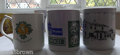 UK GIRL GUIDES: 3 UNUSED CHINA MUGS - PAX WOOD x 2, WAGGGS OLAVE CENTRE