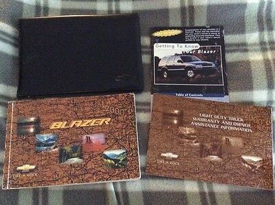 2000 Chevrolet Blazer Owners Manual In Chevy Leather Holder Warranty