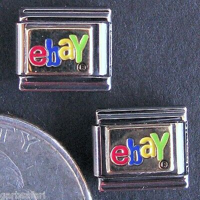 eBay Logo 2 Italian Charm Lot New Zoppini Stainless Steel Modular Links 2003
