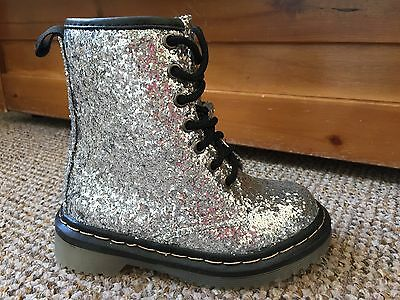 Girls Silver Glitter Ankle / Combat Boots Size 11 **BNIB**