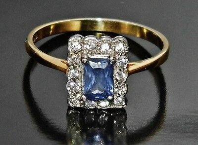 Victorian 9ct Yellow Gold on Silver Tanzanite Cluster Ring - size O