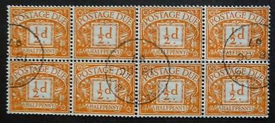 1961. 1/2d (wmk MULTIPLE Crowns) Postage Due - BLOCK of x 8. - used.