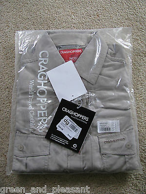 * Small Craghoppers Nosilife Long Sleeve Shirt anti mosquito travel * Parchment