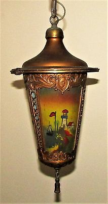 Antique Art Deco Hall Library Hanging Lamp 3 Reverse Painted Lighthouse Scenes