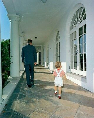 President John F. Kennedy with JFK Jr. on West Wing Colonnade New 8x10 Photo
