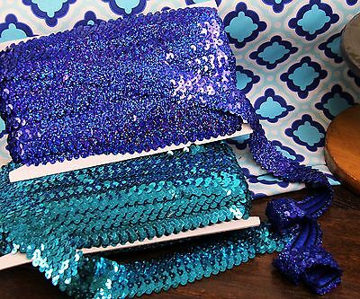 "Stretch Sequin Trim - 11Yds Length 1""And 1.5"" Width - 18 Colors Available"