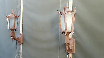 Antique Cast Iron Gothic Style Outdoor Wall Hanging Church Six Panel Lights
