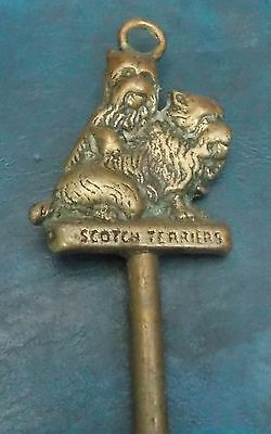 "Superb Vintage Brass Fireside Poker With Scotch Terrier Handle 17"" Long"