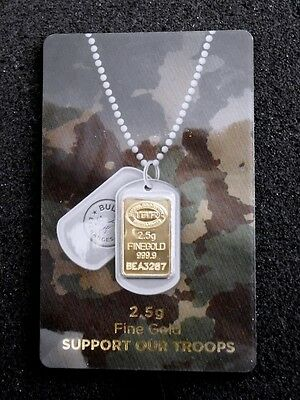 """2.5 Gram  24K  """"support Our Troops""""  Istanbul  999.9 Gold Bar - Coa   Assay Card"""