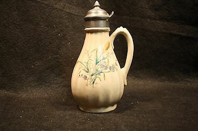 Antique 19th Century Victorian Ironstone China Syrup Pitcher Pewter Lid