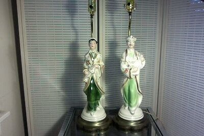 Vintage Pair 1940s 50s Asian Orientals playing musical instruments Table Lamps