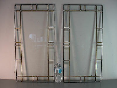 LEADED BRASS BEVELED CLEAR STAINED GLASS DOOR WINDOW PANEL 14x28 PAIR SET LOT 2