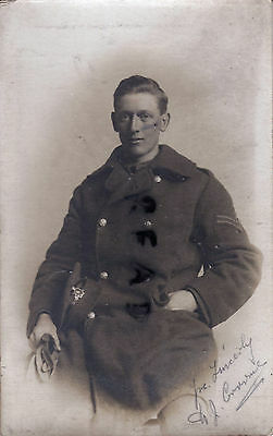 WW1 soldier named ACC Army Cyclist Corps in Greatcoat