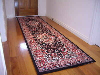 Hall Runner Rug 3 Metres Long FREE DELIVERY Queen 4980 Black