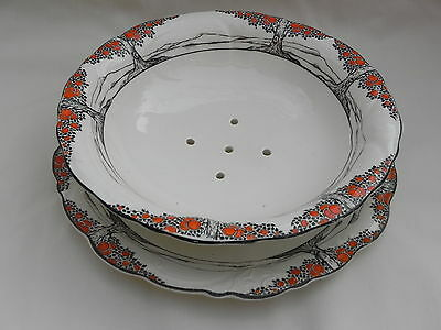 Crown Ducal ORANGE TREE FOOTED CRESS DRAINER DISH 22cm x 6cm & UNDERTRAY 24cm.