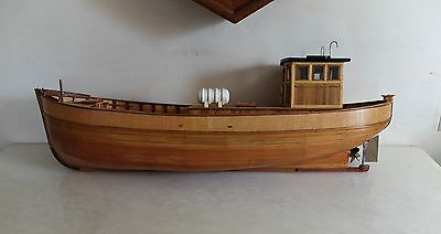 "Vintage 30"" Wooden Model Sail Boat Yacht FishIng Boat Toy Wood Hand Crafted"