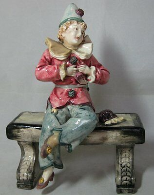 Antique Majolica Figurine Boy seated on Bench marked on base