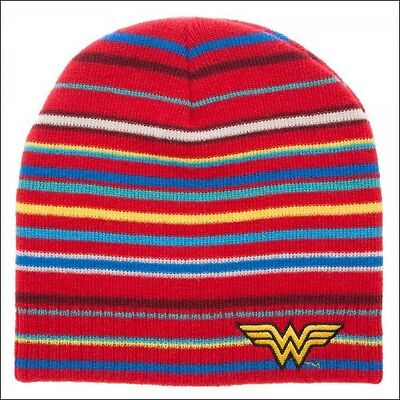 3b6ef780dee Wonder Woman DC Comics Cosplay Costume Red Striped Knit Beanie Cap Hat  OFFICIAL