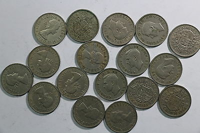 Uk Gb Half Crown Collection All Different A45 Ff19