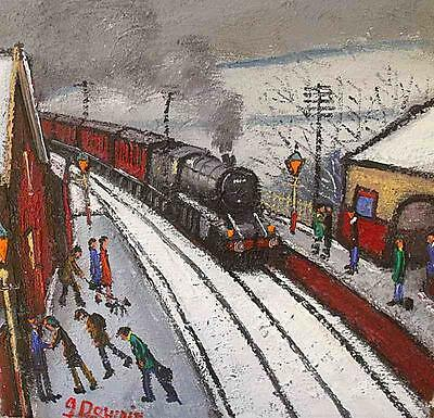 James Downie Original Oil Painting - Railway Station In The Snow (Trains)