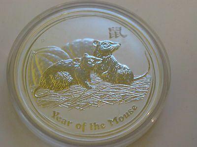 $1 Australian Lunar Year Of The Mouse Solid 1Oz Fine Silver Coin 2008
