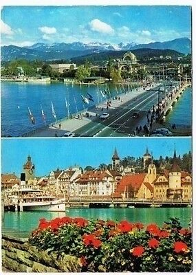 Switzerland Postcard  Luzern Lucerne Dual View