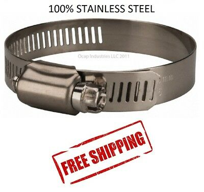 """#20 All Stainless Steel Worm Gear Hose Clamp 13/16"""" TO 1-3/4"""" (10 PC) MARINE"""