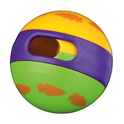 New -  Trixie Rabbit Multi Coloured Rolling Treat Ball - Pet Ball - 62781
