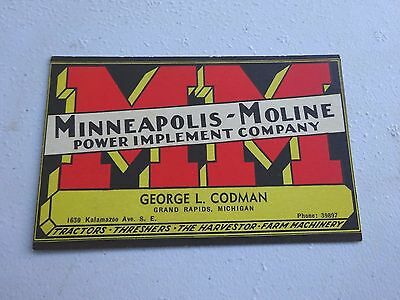 1950's Minneapolis Moline Power Implement Company Business Card