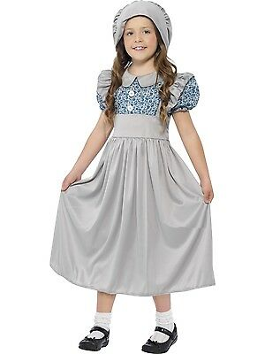 Victorian School Girl Costume Fancy Dress Outfit Grey & Blue Dress With Hat