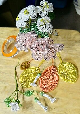 French Beaded Flowers; Mixed Styles; Exquisite Bead Work!