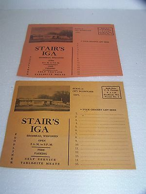 Vintage pair of 1958 Stair's IGA Brodhead WI sale flyer cards