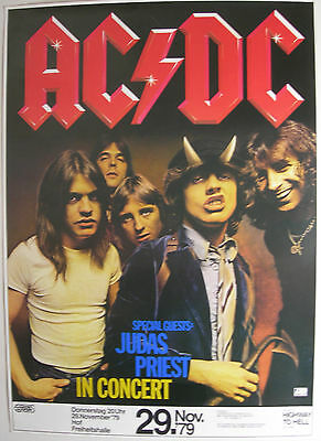 Ac/dc Judas Priest Concert Tour Poster 1979 Highway To Hell Nov 29 Bon Scott