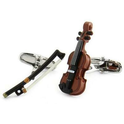 Colour Violin and Bow Cufflinks
