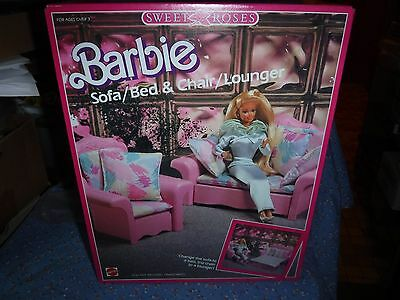 NIB Barbie Sweet Roses Sofa / Bed & Chair / Lounger  4471 1987