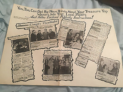 VINTAGE ORIGINAL PEPSI  COLA 17 x 22 PROMO POSTER FROM CONTEST WINNERS 1940'S