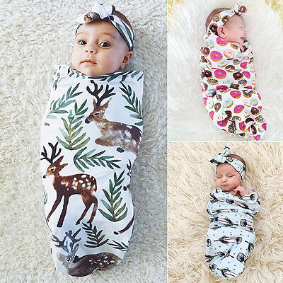 Cute Pattern Newborn Baby Infant Swaddle Wrap Swaddling Blanket + Headbank