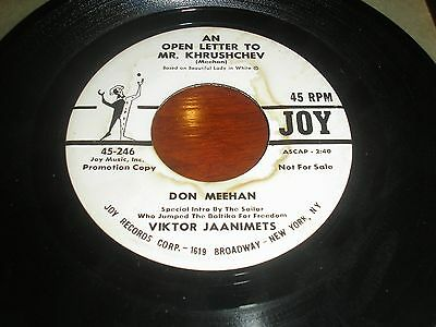 Don Meehan An Open Letter To Mr. Krushchev/beautiful Lady In White  Joy Promo