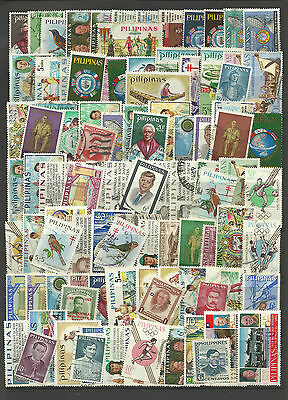 PHILIPPINES STAMP COLLECTION & PACKET 100 DIFFERENT Mostly Used NICE SELECTION