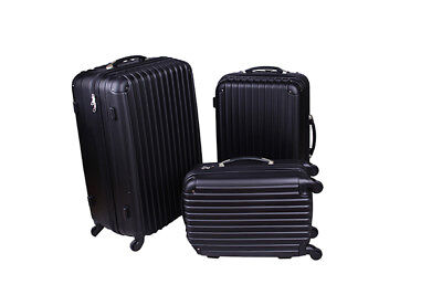BN 3 Pieces ABS Black Travel Bags Luggage Set Suitcase
