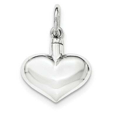 .925 Sterling Silver Polished Hollow Puffy Heart Ash Holder Pendant