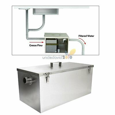 HD 25LB Gallon Per Minute Commercial Grease Trap Interceptor Stainless Steel